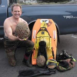 Roger Rude with big abalone