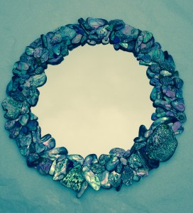 Abalone shell mirror by Catherine Miller