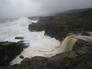 Seasonal waterfall north of Stump Beach by John Sperry