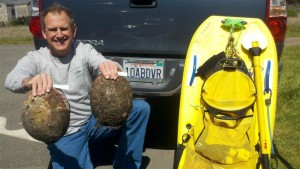 Roger Rude with two ten-inch Abalones by Jack Likins (Small)