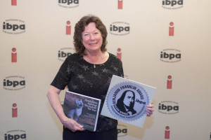 Jeanne Jackson with her book, Mendonoma Sightings Throughout the Year, wins the silver Benjamin Franklin book award, photo courtesy of IBPA