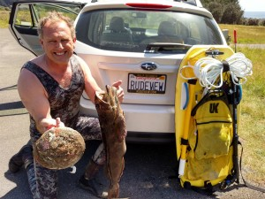 Roger Rude with a ten+ inch Abalone and a Lingcod by Jack Likins (Large)