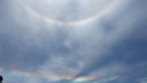 Halo around the sun and a fire rainbow at Anchor Bay Beach by Donna Woodbury
