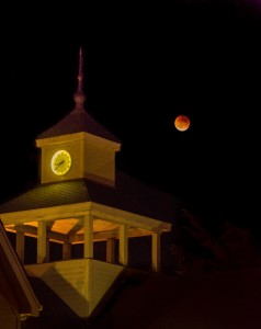 Eclipse of moon in Gualala by Paul Brewer