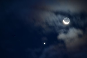 The crescent moon and venus by Don Spear