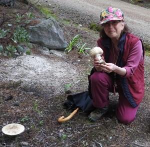 Irma Brandt with Gemmed Amanita, Amanita gemmata by Jeanne Jackson