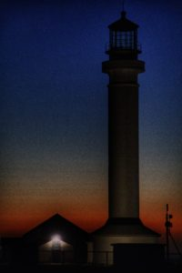 The Point Arena Lighthouse at night by Mike Nelson