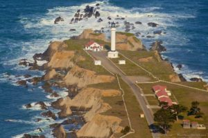 Aerial view of the Point Arena Lighthouse by Craig Tooley